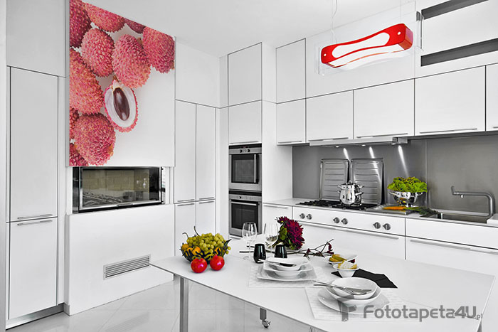 fototapeta do białych mebli w kuchni