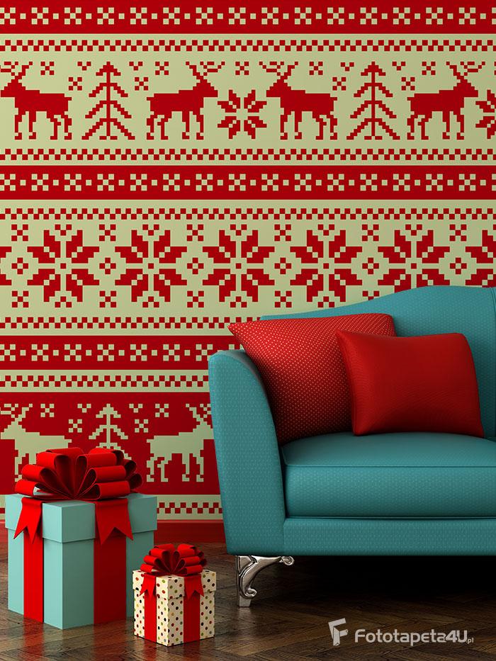 Fototapeta w salonie Bożonarodzeniowy wzorek w renifery