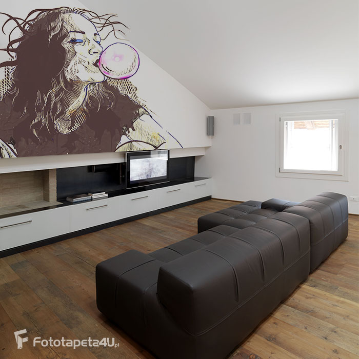 Fototapeta Rysunek na ścianie Dziewczyna robi balona