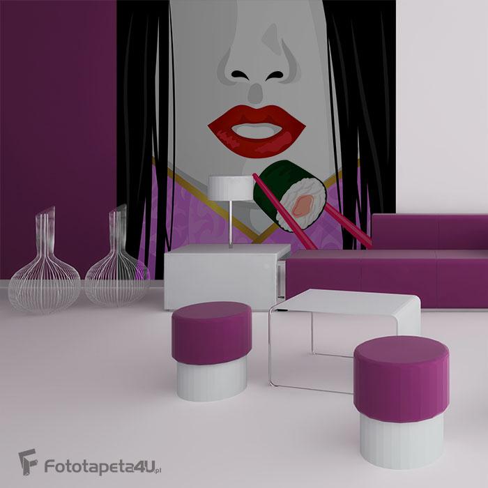 Fototapeta w salonie sushi kobieta