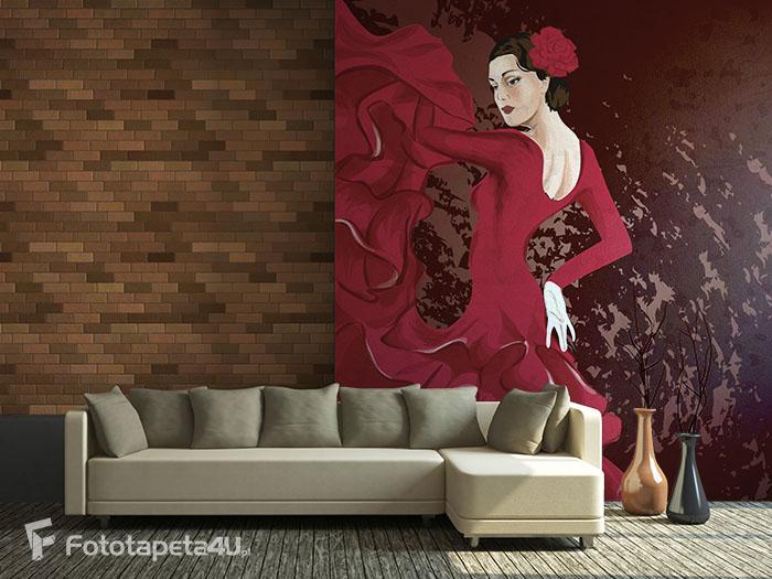 Fototapeta Kobieta w czerwonej sukni tańczy Flamenco