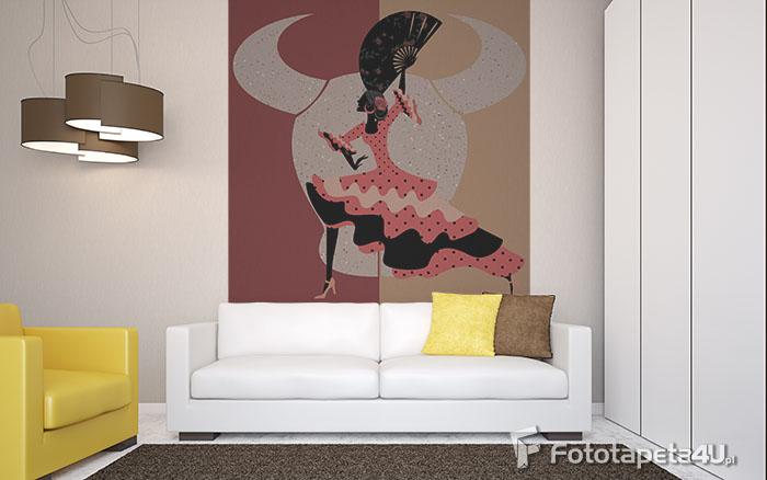 Fototapeta w salonie hiszpańskie flamenco tańczy kobieta na tle byka