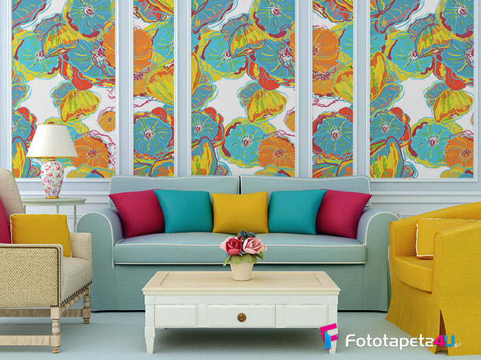 Fototapeta kolorowe kwiaty w salonie