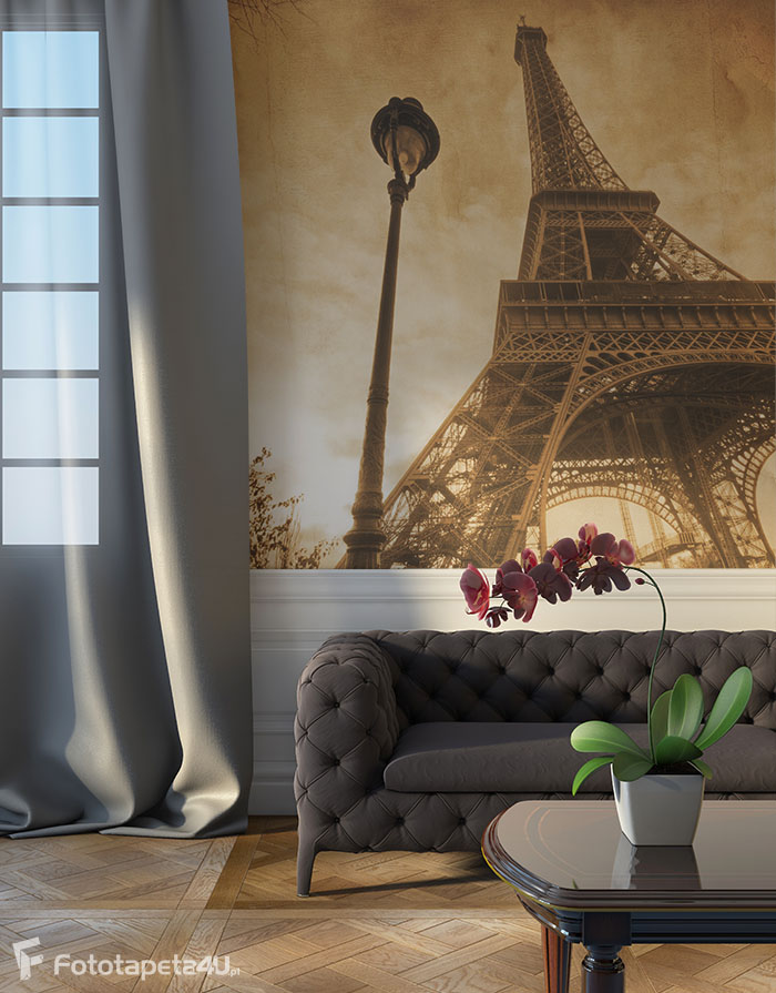 Fototapeta Wieża Eiffla sepia z teksturą