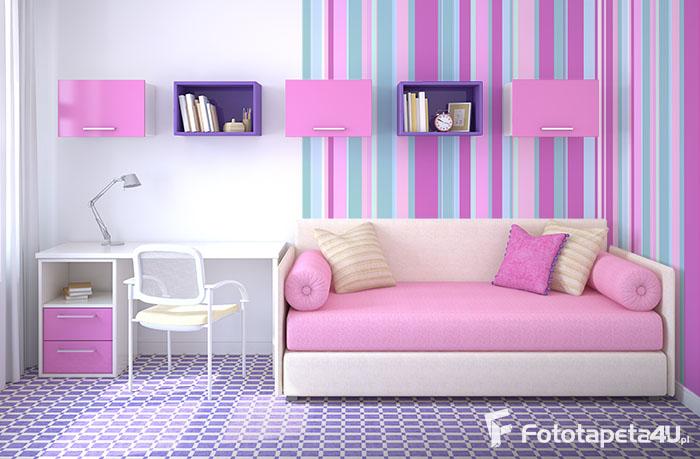 Tapeta lateksowa w paski różowe, cyjanowe, pokój dziewczynki