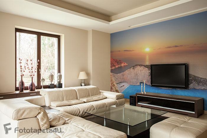 Fototapeta lateksowa z laminatem Panorama na wyspie Zakynthos z wraku na plaży