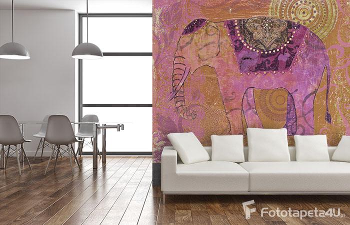 Fototapeta w salonie Słoń kolorowy indyjski malowany
