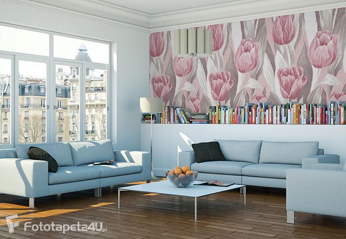 Fototapeta w salonie laminowana Tulipany Malowane seamless