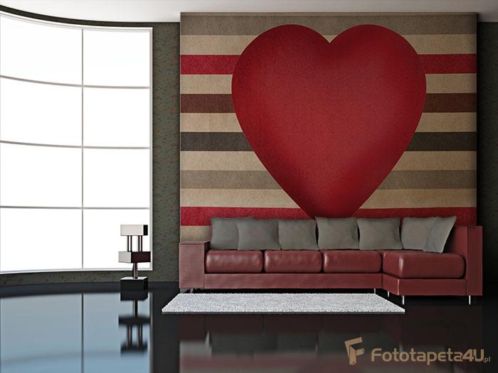 Fototapeta w salonie Czerwone serce na tle pasków
