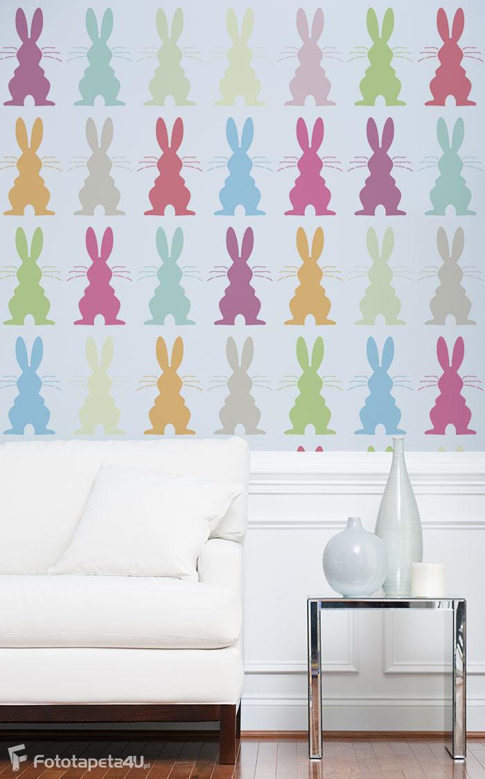 Fototapeta w salonie kolorowe króliczki
