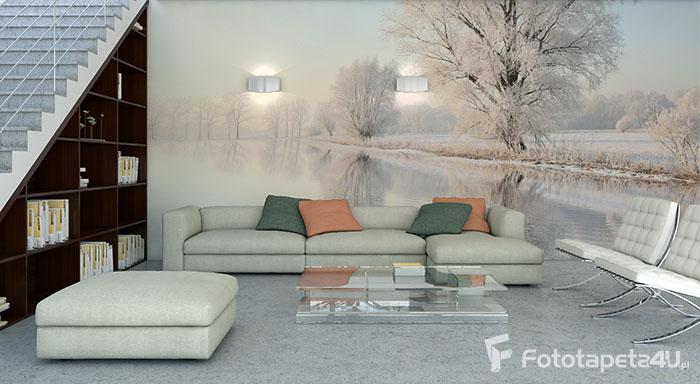 Fototapeta w salonie Mroźna zima i oszronione drzewa nad stawem