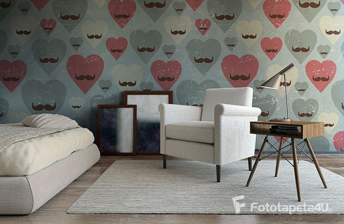 Fototapeta Valentine seamless pattern with heart and mustache