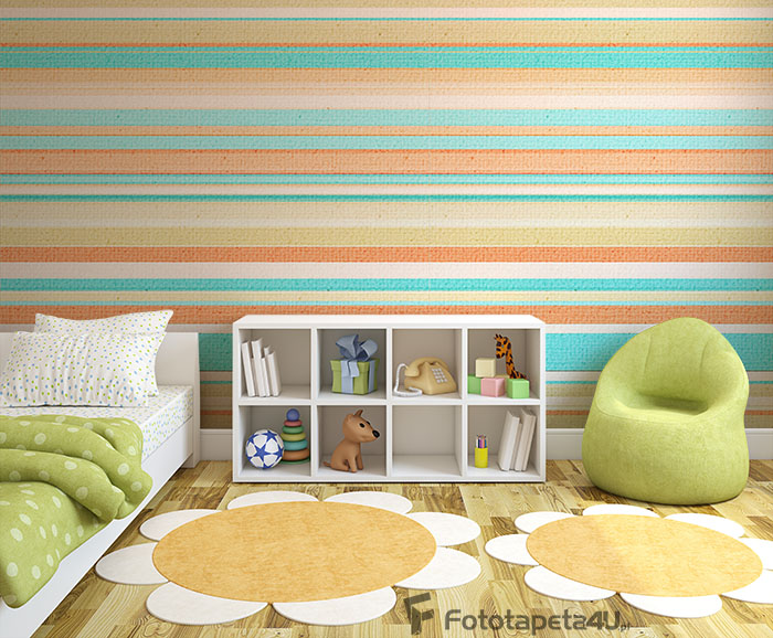 Fototapeta Textured Background with colorful cyan, orange, beige stripes
